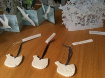 little porcelain bird ornaments made by Rebecca Callis and available at Snug Gallery in Hebden Bridge