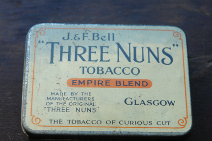 "vintage ""Three Nuns"" tobacco tin"