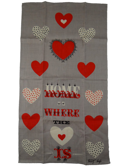 "Tammis Keefe teatowel with red & white hearts and the words, ""Home is where the heart is"""