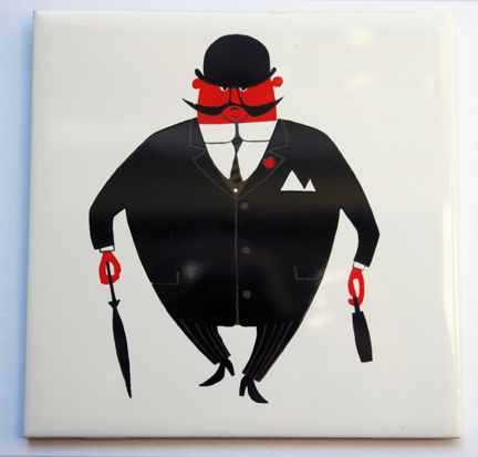 vintage &quot;City Gent&quot; ceramic tile designed by Kenneth Townsend
