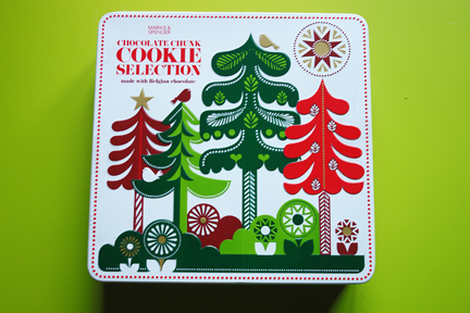 Marks &amp; Spencer chocolate chunk selection biscuit tin designed by Sanna Annukka