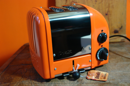 my birthday present, an orange Dualit toaster exclusively available from Selfridges
