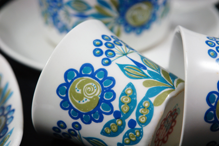 detail of Tor Viking pottery mugs designed by Turi Gramstad Oliver for Figgjo Flint