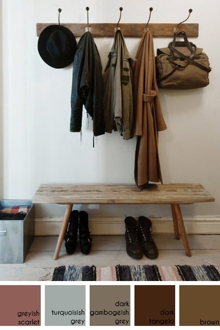 vintage wooden coat rack hung with coats, hat and bag with wooden bench beneath