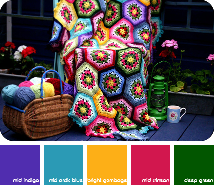Hexagon patchwork crocheted blanket - H is for Home Harbinger