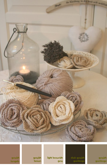 crocheted roses in shades of white & cream