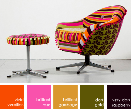 "Denryn Relph's colourful upholstered swivel chair & footstool in ""Retro Rainbow"""