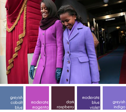 Sasha & Malia Obama at Barak Obama's presidential inauguration