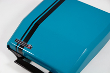vintage 1970s electric blue portable Smith Corona designed by Ghia