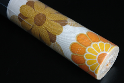 vintage 1970s Crown wallpaper with floral pattern in browns and orange
