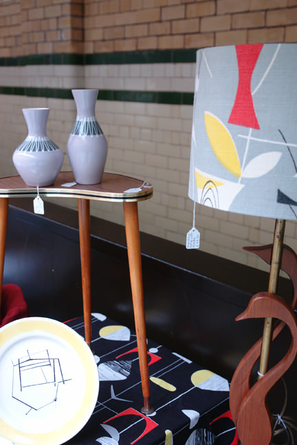 mid century modern homewares on a stall at Manchester Vintage Home Show