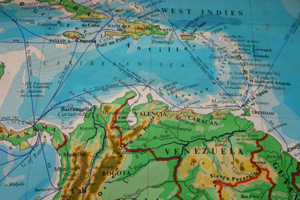 large vintage school wall map of South America showing a detail of the Caribbean