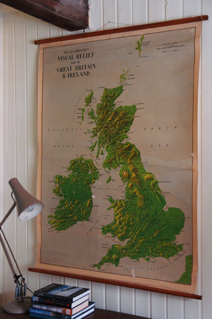 large vintage school wall map of Great Britain &amp; Ireland