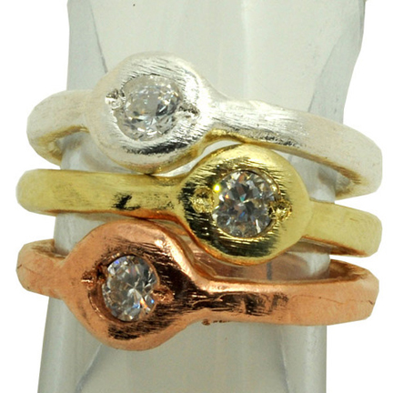 mixed CZ stacking rings by Sheila Fajl
