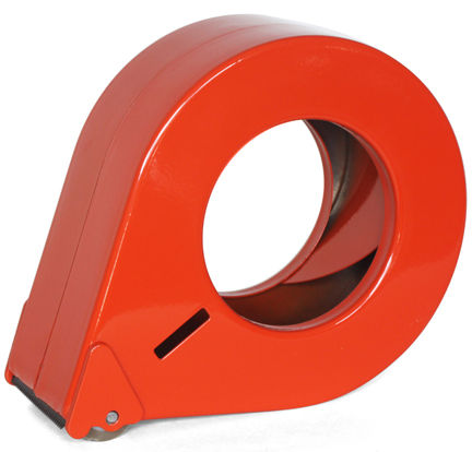 orange metal packing tape dispenser from Poppin