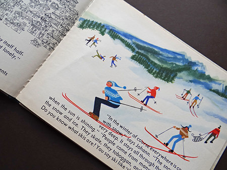 Alpine skiing scene from the 'Austria' book from the World Dolls Series
