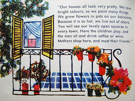 Balcony with flowers in 'Italy' the vintage World Dolls series of books