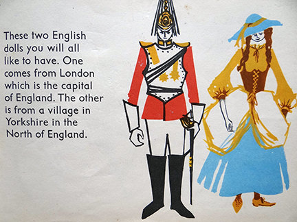 illustration of a pair of dolls in the World Dolls Series, England | H is for Home