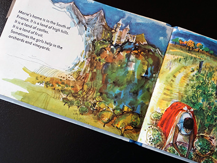 illustration of a castle in the hills from the France edition in the World Dolls Series of children's books