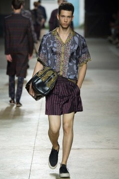 dries van noten model with paisley and stripes
