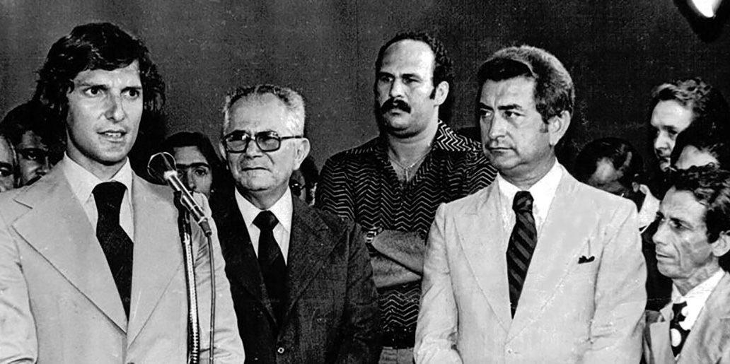 Pedro Collor, Arnon de Mello, Márcio Canuto, José Barbosa e Jorginho na inauguração da TV Gazeta de Alagoas em 1972