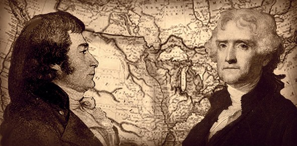 Claiborne and President Thomas Jefferson with a map of the Louisiana Purchase
