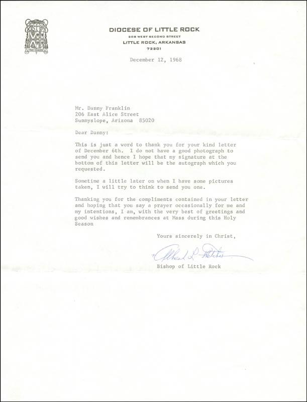 Bishop Albert L Fletcher - Typed Letter Signed 12/12/1968