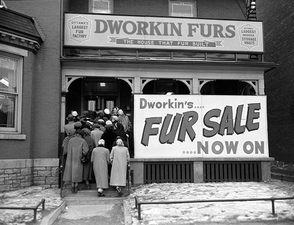 Customers crowd in for Dworkin's fur sale, February 1954. Image: City of Ottawa Archives CA043229.