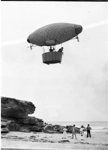 Dirigible flying over Tamarama Beach Photo courtesy of the State Library of NSW