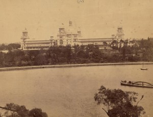 Photo courtesy of the State Library of NSW - The International Exhibition, Sydney, from Lady Macquarie's Chair, 1879-1880 / photographed by C. Bayliss, 419 George Street [Sydney]