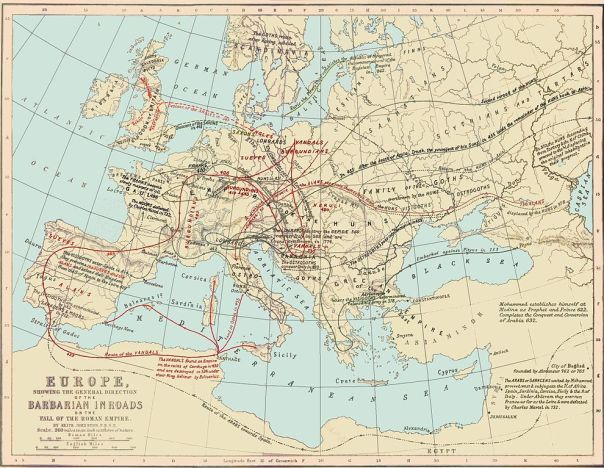 Routes of Barbarian Invasions - from Ginn & Company's Classical Atlas, Keith Johnston, cartographer (Boston, 1894)