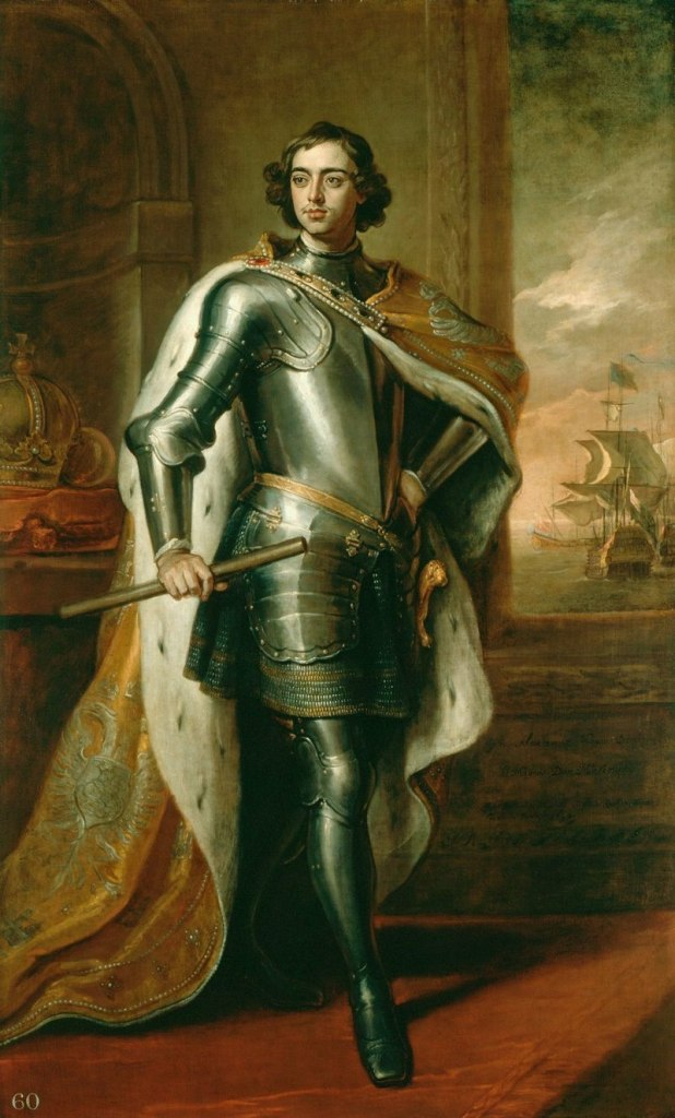 Portrait of Peter I by Godfrey Kneller, 1698. This portrait was Peter's gift to the King of England. On loan to the British Museum for the Scythians exhibit.