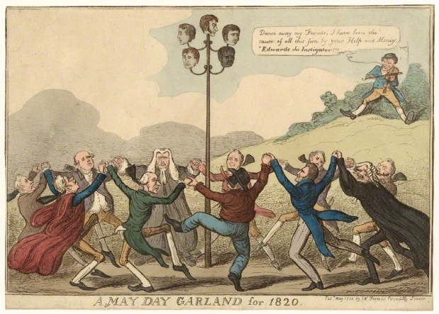 A May Day Garland for 1820 published by Samuel William Fores hand-coloured etching, published May 1820 Courtesy of the National Portrait Gallery