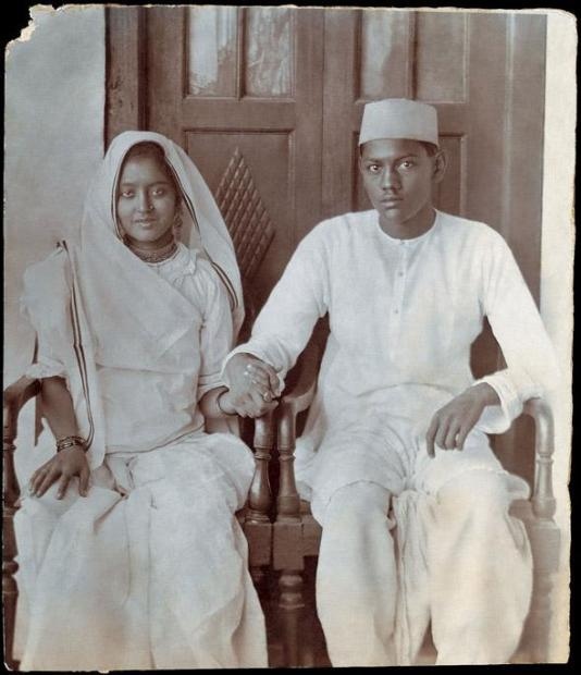 """My Grandmother Chameli Devi Jain and Grandfather Phool Chand Jain, shortly after their marriage. Delhi. Circa 1923"". A teenage couple who became noted Freedom Fighters  Image and text contributed by Sreenivasan Jain, Journalist, New Delhi  http://www.indianmemoryproject.com/46-2/"