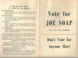 Radical Objects: 'Vote for Joe Soap'