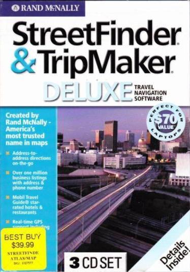 StreetFinder  TripMaker Deluxe 2003 w/ Pocket Atlas Book PC CD plan