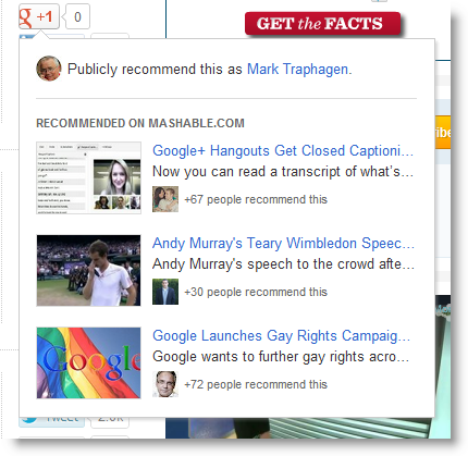 Google +1 Button Content Recommendations Example