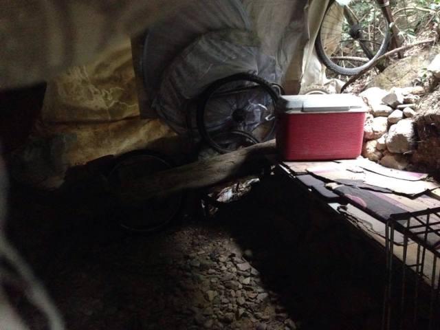 案發現場旁有一個小屋,要揭開布簾才能看到裡面情況