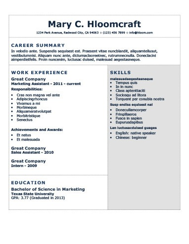 Modern Resume Templates 64 Examples - Free Download - best resume fonts