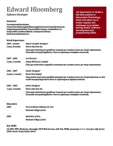 Simple Resume Templates 75 Examples - Free Download - appropriate font for resume