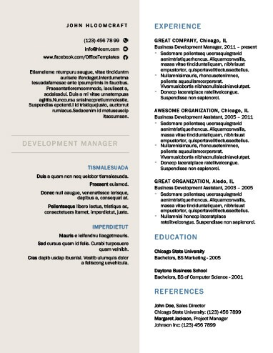 Modern Resume Templates 64 Examples - Free Download - Resume Te