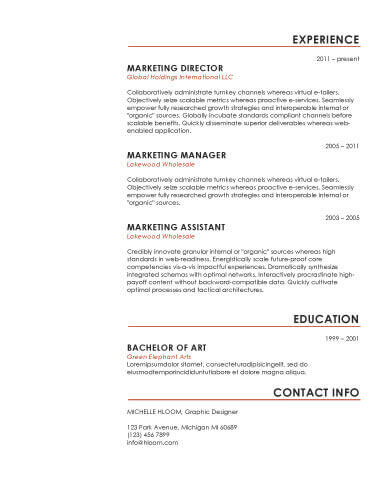 Simple Resume Templates 75 Examples - Free Download - headers for resumes