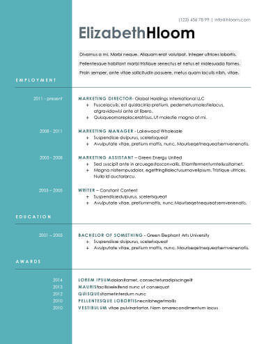 Modern Resume Templates 64 Examples - Free Download - resume font type