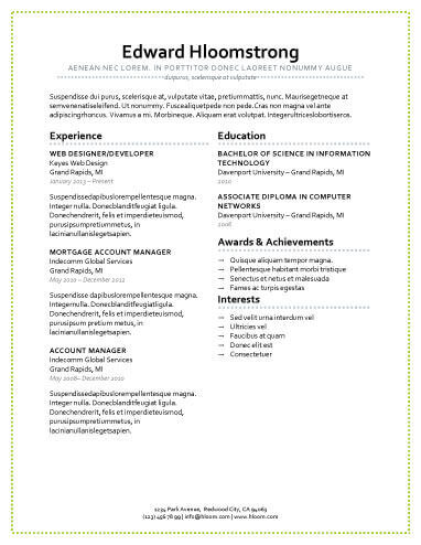 Modern Resume Templates 64 Examples - Free Download - Different Resume Styles