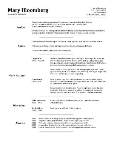 resume basics - Onwebioinnovate