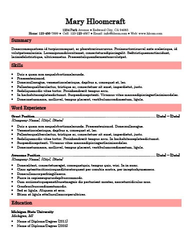 Simple Resume Templates 75 Examples - Free Download - great looking resume templates