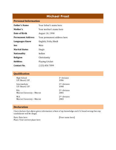 Biodata - What it is + 7 Biodata Resume Templates - biodata format for teacher job