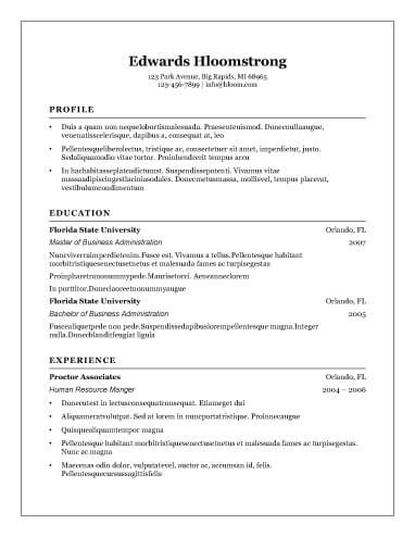 free resume templates format traditional 2 template download word