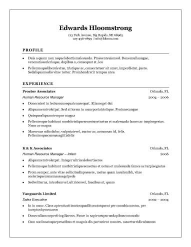 Easy Resume Examples Resume Format Free To Download Word Templates - Easy Resume Samples