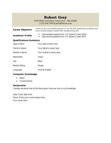Biodata - What it is + 7 Biodata Resume Templates - fill in resume templates